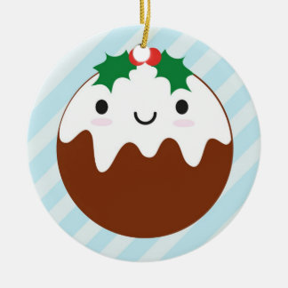 Cute Christmas Pudding Ceramic Ornament