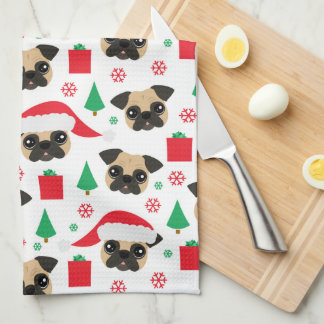Cute Christmas Pug Kitchen Towel