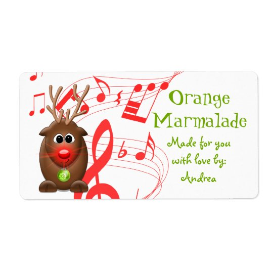 Cute Christmas Reindeer Gift Tag Sticker Shipping Label