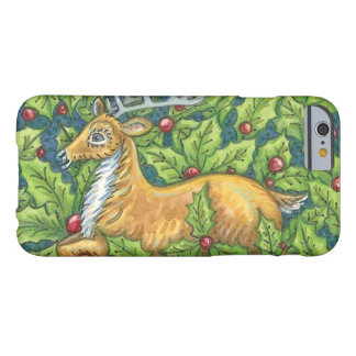 Cute Christmas Reindeer in Forest with Holly Barely There iPhone 6 Case