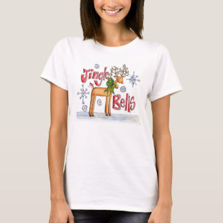 Cute Christmas Reindeer, Jingle Bells Snowflakes T-Shirt