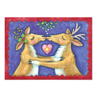 Cute Christmas Reindeer Kiss Wedding Invitation