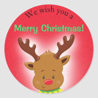Cute Christmas Reindeer on Red Classic Round Sticker