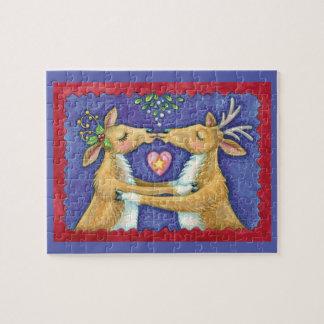 Cute Christmas Reindeer, Romantic Kiss w Mistletoe Jigsaw Puzzle