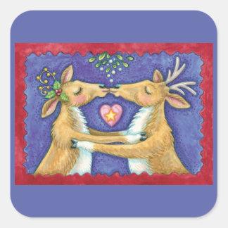 Cute Christmas Reindeer, Romantic Kiss w Mistletoe Square Sticker
