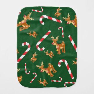 Cute Christmas Rudolph Candy Cane Pattern Green Burp Cloth