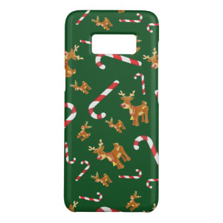 Cute Christmas Rudolph Candy Cane Pattern Green Case-Mate Samsung Galaxy S8 Case