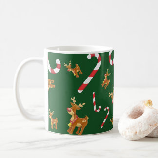 Cute Christmas Rudolph Candy Cane Pattern Green Coffee Mug