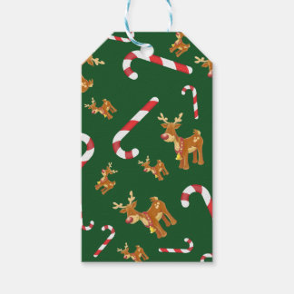 Cute Christmas Rudolph Candy Cane Pattern Green Gift Tags