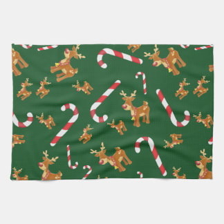 Cute Christmas Rudolph Candy Cane Pattern Green Kitchen Towel