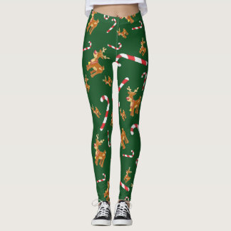 Cute Christmas Rudolph Candy Cane Pattern Green Leggings
