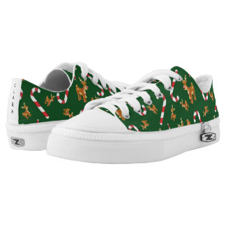 Cute Christmas Rudolph Candy Cane Pattern Green Low-Top Sneakers