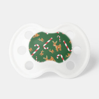 Cute Christmas Rudolph Candy Cane Pattern Green Pacifier