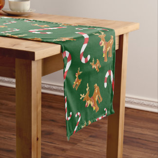 Cute Christmas Rudolph Candy Cane Pattern Green Short Table Runner
