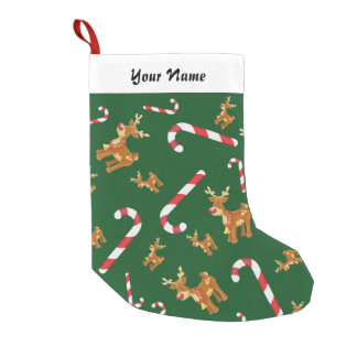 Cute Christmas Rudolph Candy Cane Pattern Green Small Christmas Stocking