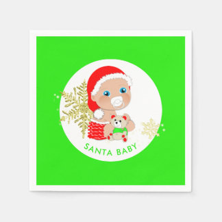 Cute Christmas Santa Baby Personalized Disposable Napkins