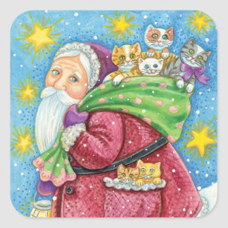 Cute Christmas, Santa Claus with Kittens and Cats! Square Sticker