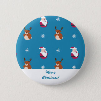 Cute Christmas Santa & Rudolph Button