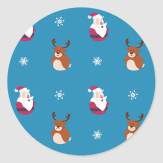 Cute Christmas Santa & Rudolph Sticker