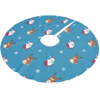Cute Christmas Santa & Rudolph Tree Skirt