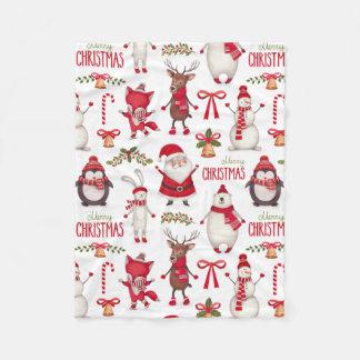 Cute Christmas Santas, Penguins, and Polar Bears Fleece Blanket