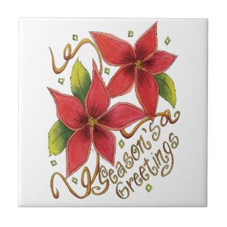 Cute Christmas Season's Greetings with Poinsettias Ceramic Tiles