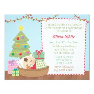 Cute Christmas Sleeping Baby Shower Invitations