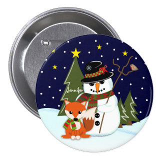 Cute Christmas Snowman and Fox and Custom name 3 Inch Round Button