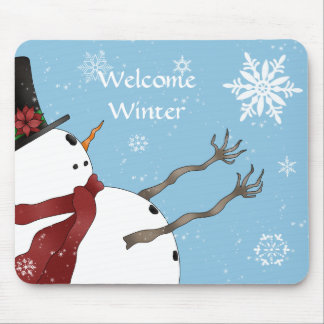 Cute Christmas snowman and snowflakes Mouse Pad