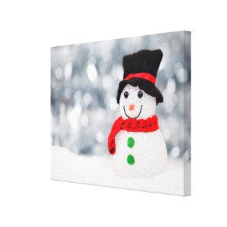 Cute Christmas Snowman Bokeh Canvas Print