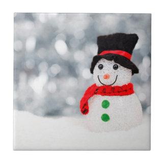 Cute Christmas Snowman Bokeh Ceramic Tile