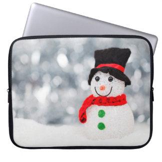 Cute Christmas Snowman Bokeh Computer Sleeve