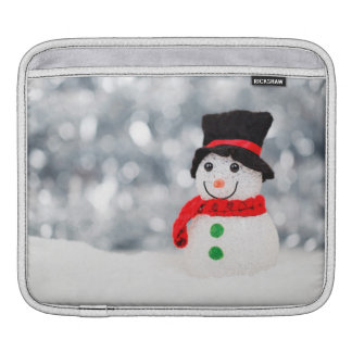 Cute Christmas Snowman Bokeh iPad Sleeve
