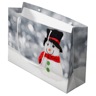 Cute Christmas Snowman Bokeh Large Gift Bag