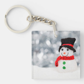 Cute Christmas Snowman Bokeh Single-Sided Square Acrylic Keychain