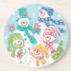 Cute Christmas Snowman Family in the Snow Coaster