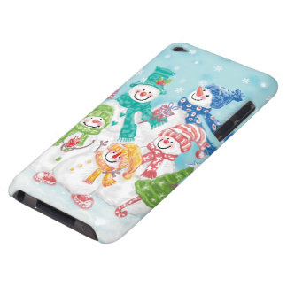 Cute Christmas Snowman Family in the Snow iPod Touch Case