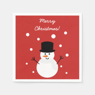 Cute Christmas Snowman Festive Holiday Party Paper Napkins