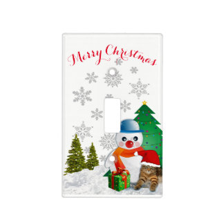 Cute Christmas Snowman Light Switch Cover