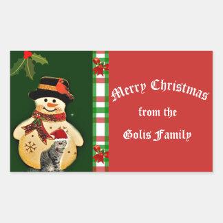 Cute Christmas Snowman Rectangle Sticker