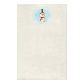 Cute Christmas Snowman Waving And Smiling Stationery