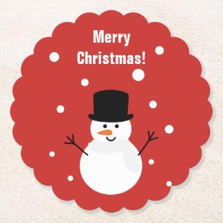Cute Christmas Snowman Winter Festive Holiday Snow Paper Coaster
