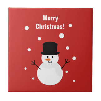 Cute Christmas Snowman Winter Festive Holiday Snow Tile