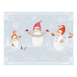 Cute Christmas Snowmen Merry and Bright Postcard