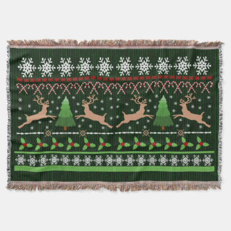 Cute Christmas Sweater Pattern Holiday Reindeer Throw Blanket