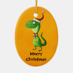 Cute Christmas T-rex Double-Sided Oval Ceramic Christmas Ornament