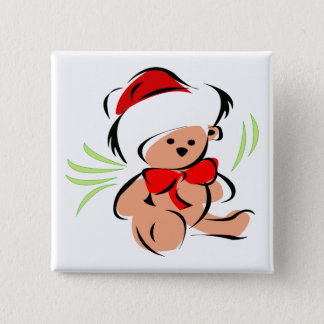 Cute Christmas teddy bear 2 Inch Square Button