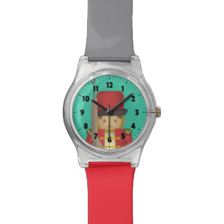 Cute Christmas Toy Soldier Boy in Red Watch
