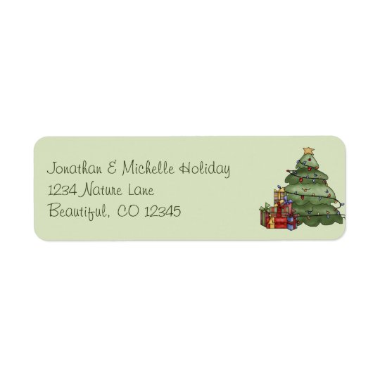 Cute Christmas Tree and Gifts Holiday Address
