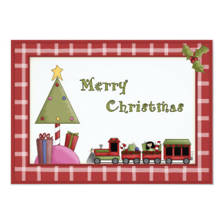 """Cute Christmas Tree and Toy Train Party Invitation 5"""" X 7"""" Invitation Card"""